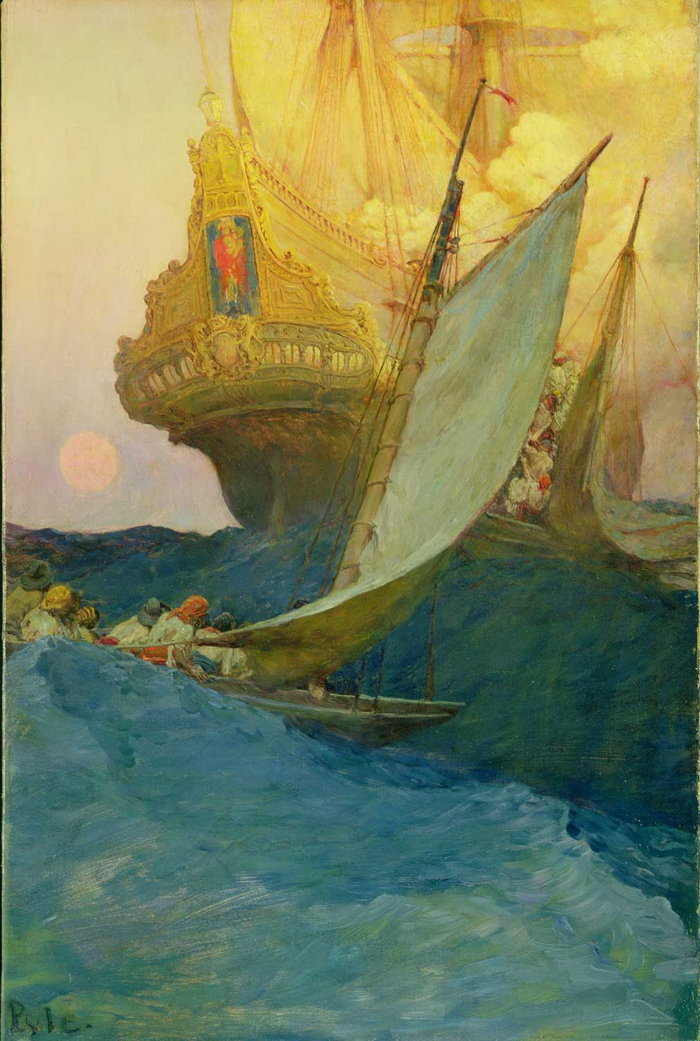 """An Attack on a Galleon,"" Howard Pyle, 1905. Oil on canvas."