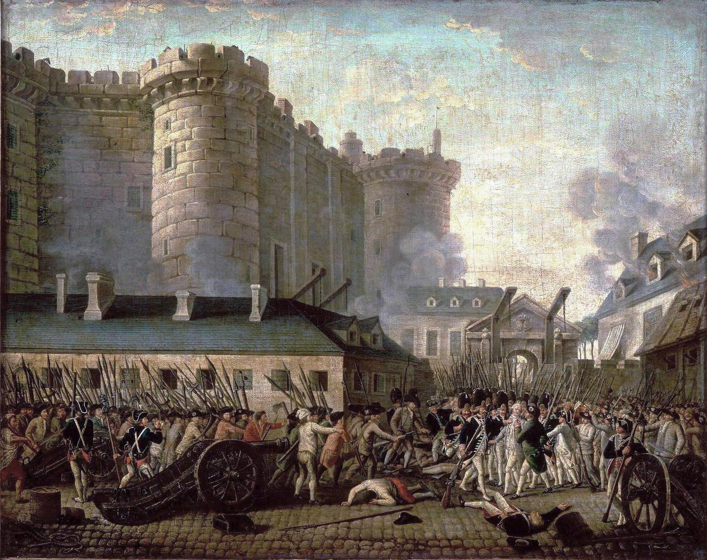 """Jean-Pierre-Louis-Laurent Houel (1735-1813), """"Prise de la Bastille"""", 1789. [Bnf]"""